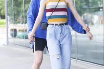 现在真实的撒狗粮办法短裤与长裤贴在一同走情侣穿好甜
